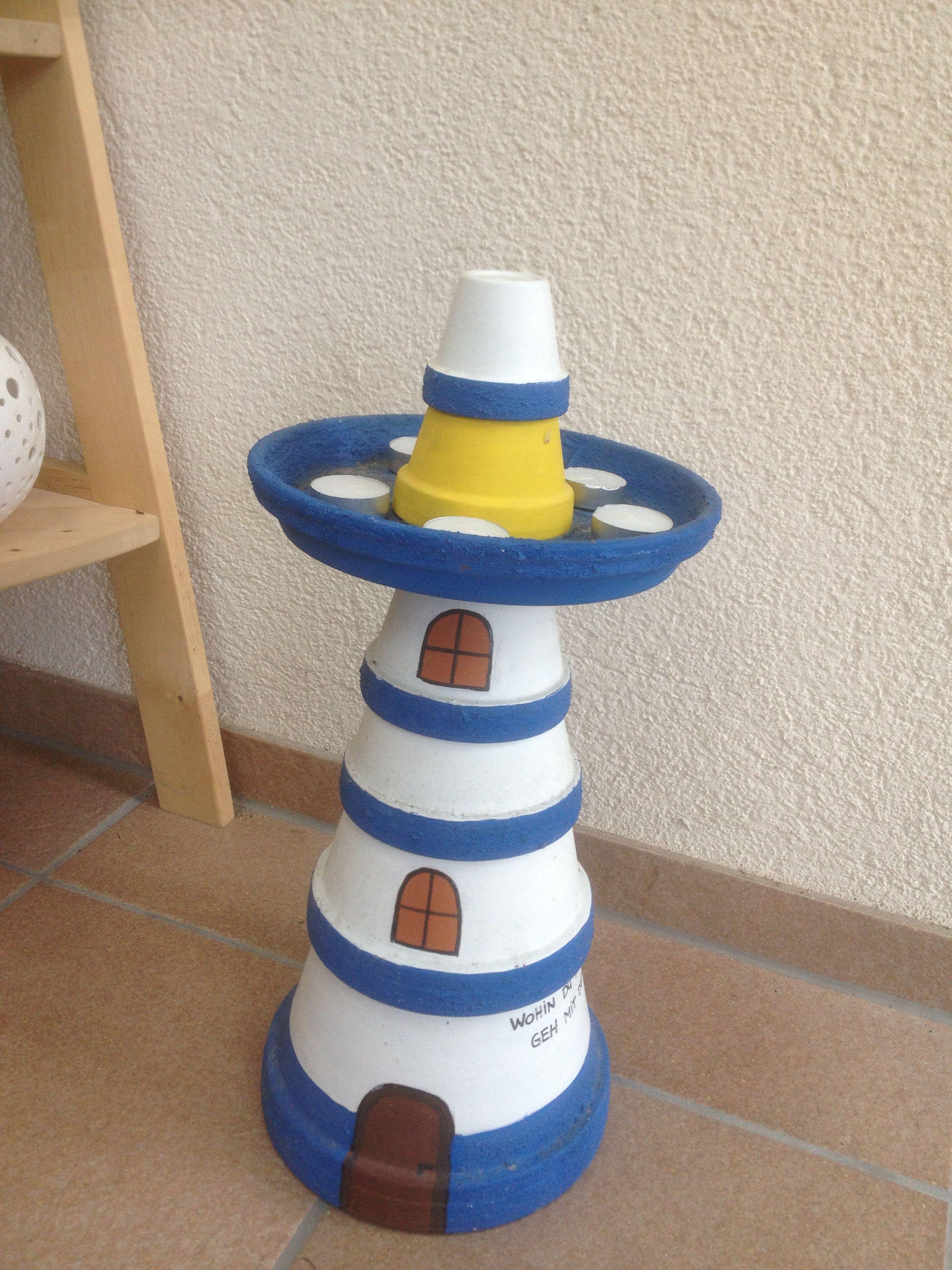 Tontopfleuchtturm selbstgemacht