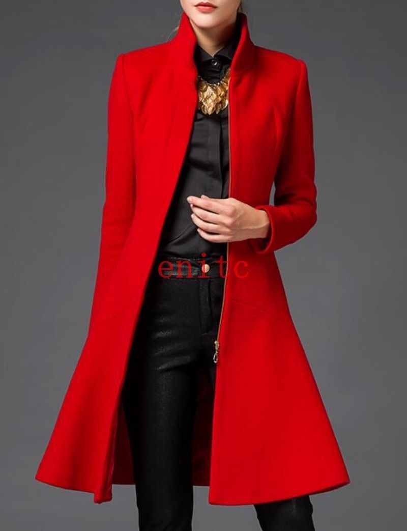 Womens Trench Mid Long Coat Slim Fit Wool Blend Lady