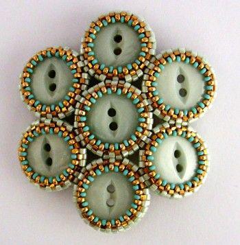 "ButtonArtMuseum.com - Jean Power: ""Onye 5""( £3.00 pattern); vintage buttons;"