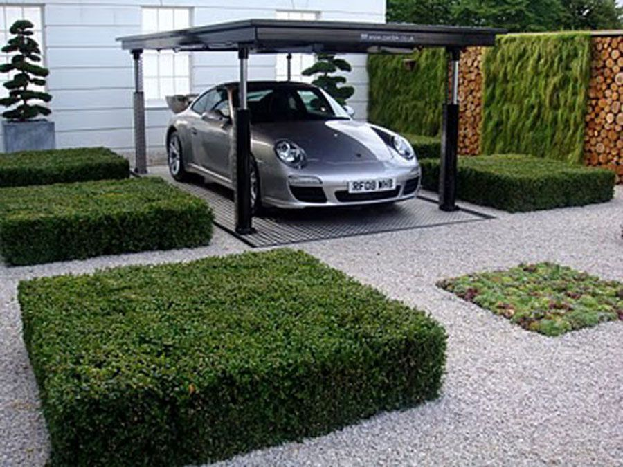 Great way to store your car, sunken car garage lift