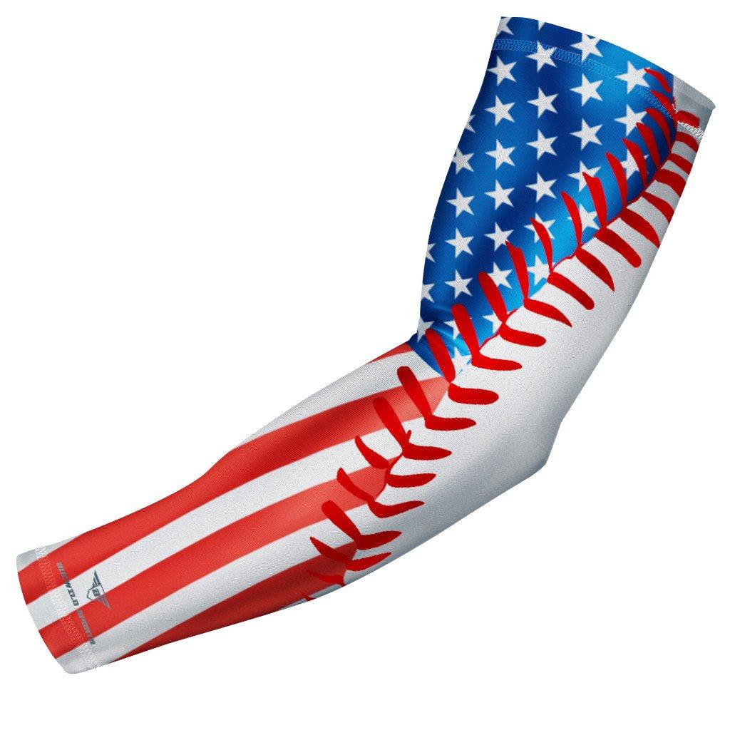 Usa Flag Baseball Stitch Compression Arm Sleeve Compression Arm Sleeves Basketball Arm Sleeves Red White Blue Baseball