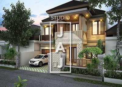 Desain Rumah 2 Lantai Luas Bangunan 350m2 Style Bali Modern Bp