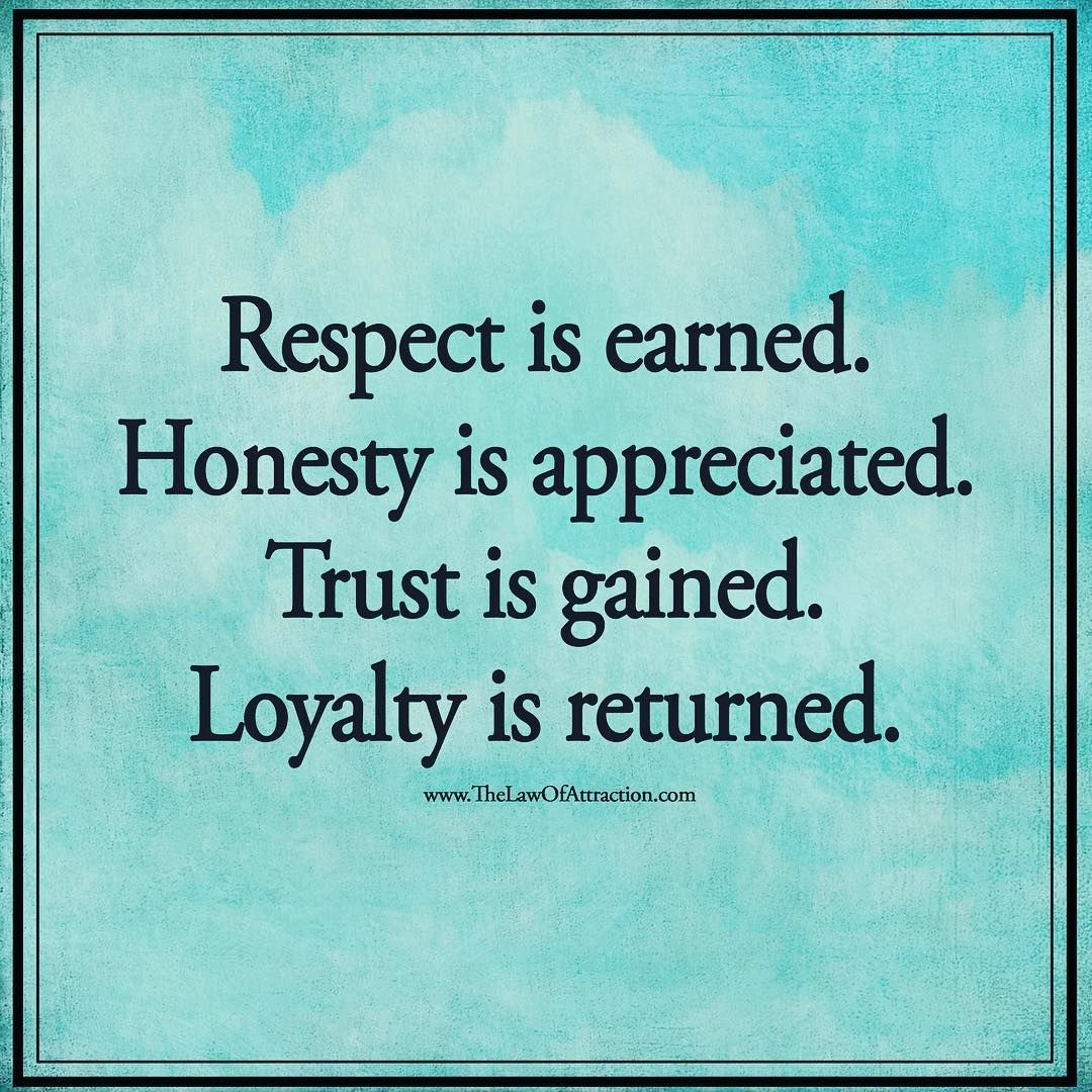 Read Complete Respect Is Earned Honesty Is Appreciated