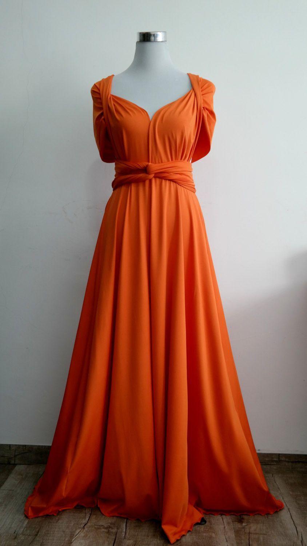Lilzoo Plus Size Full Length Convertible Infinity Multiway Wra Orange Bridesmaid Dresses
