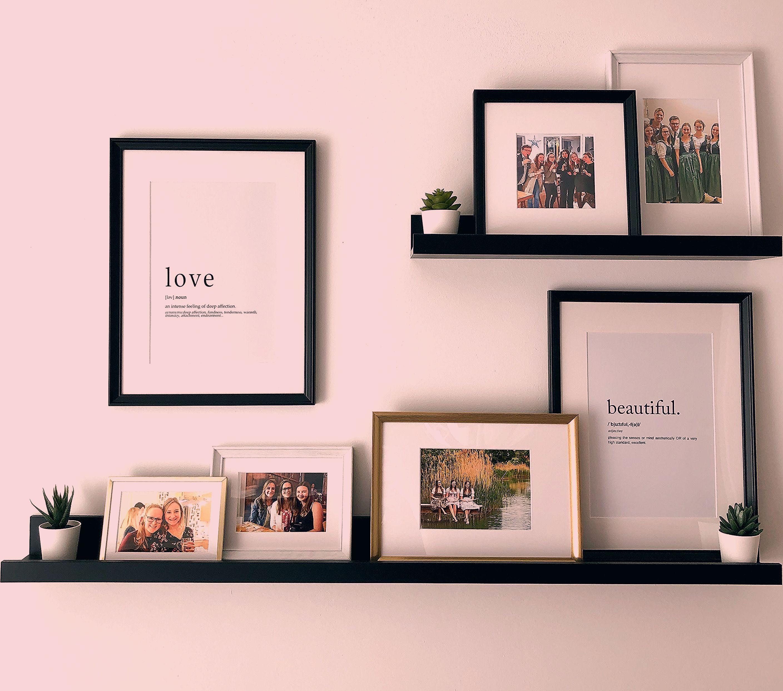 Ikea Picture Ledge #homedecor #homestyle #pics #frames #framedwallart #blackandwhiteandgold #simpledecor #allaboutthedetails #accessoires #plants #bedroom #homesweethome
