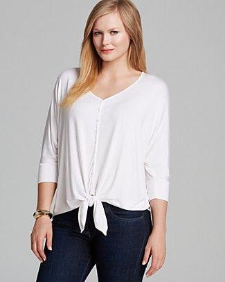 Karen Kane Plus Size Fashion White Dolman Sleeve Tie Front Top #Karen_Kane #White #Plus_Size_Fashion #Bloomingdales