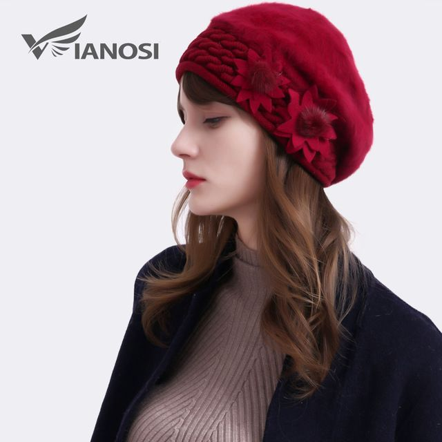 c0028ccfa25 VIANOSI Women winter rabbit fur hat cap Fashion flowers Caps Lady Headgear  warm Beanies Women s Winter
