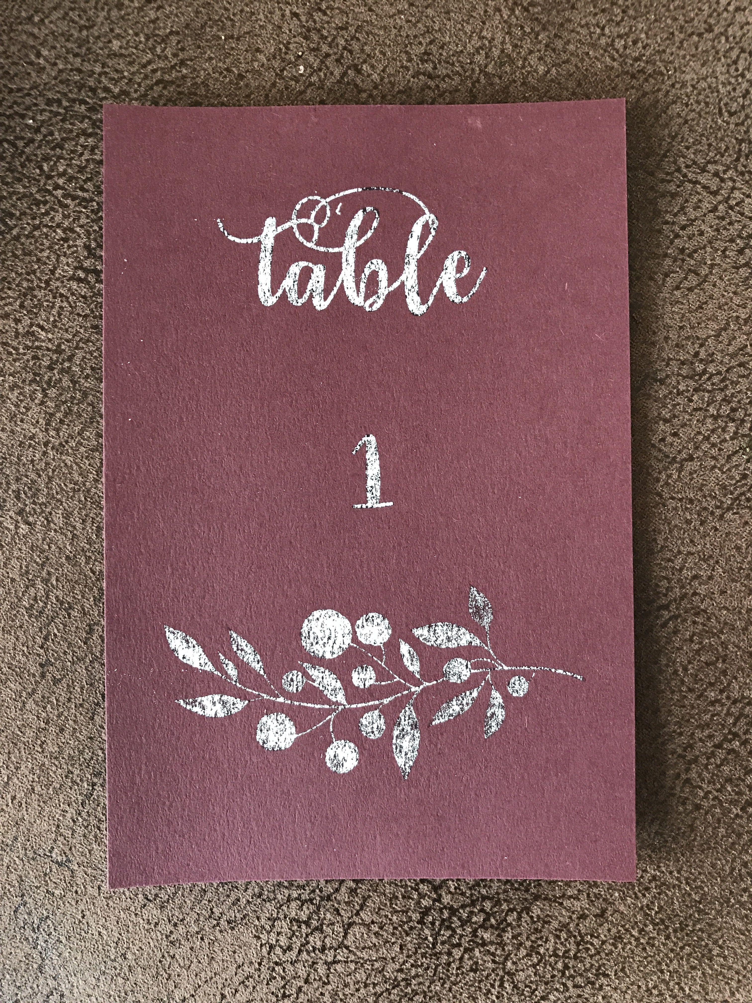 Rustic farm wedding table numbers! Burgundy cardstock   New Years ...