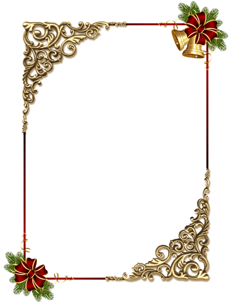 christmas gold png photo frame with red bow holidays. Black Bedroom Furniture Sets. Home Design Ideas