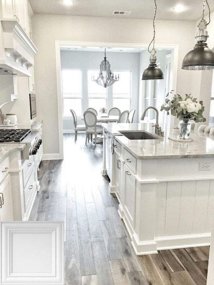 Off White Kitchen Cabinets With Wood Floors Whitecabinets And Kitchenislands White Kitchen Design Kitchen Design Kitchen Cabinet Design