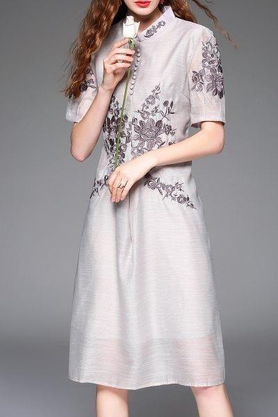 Dezzal - Dezzal Loose Embroidery Cheongsam Dress - AdoreWe.com