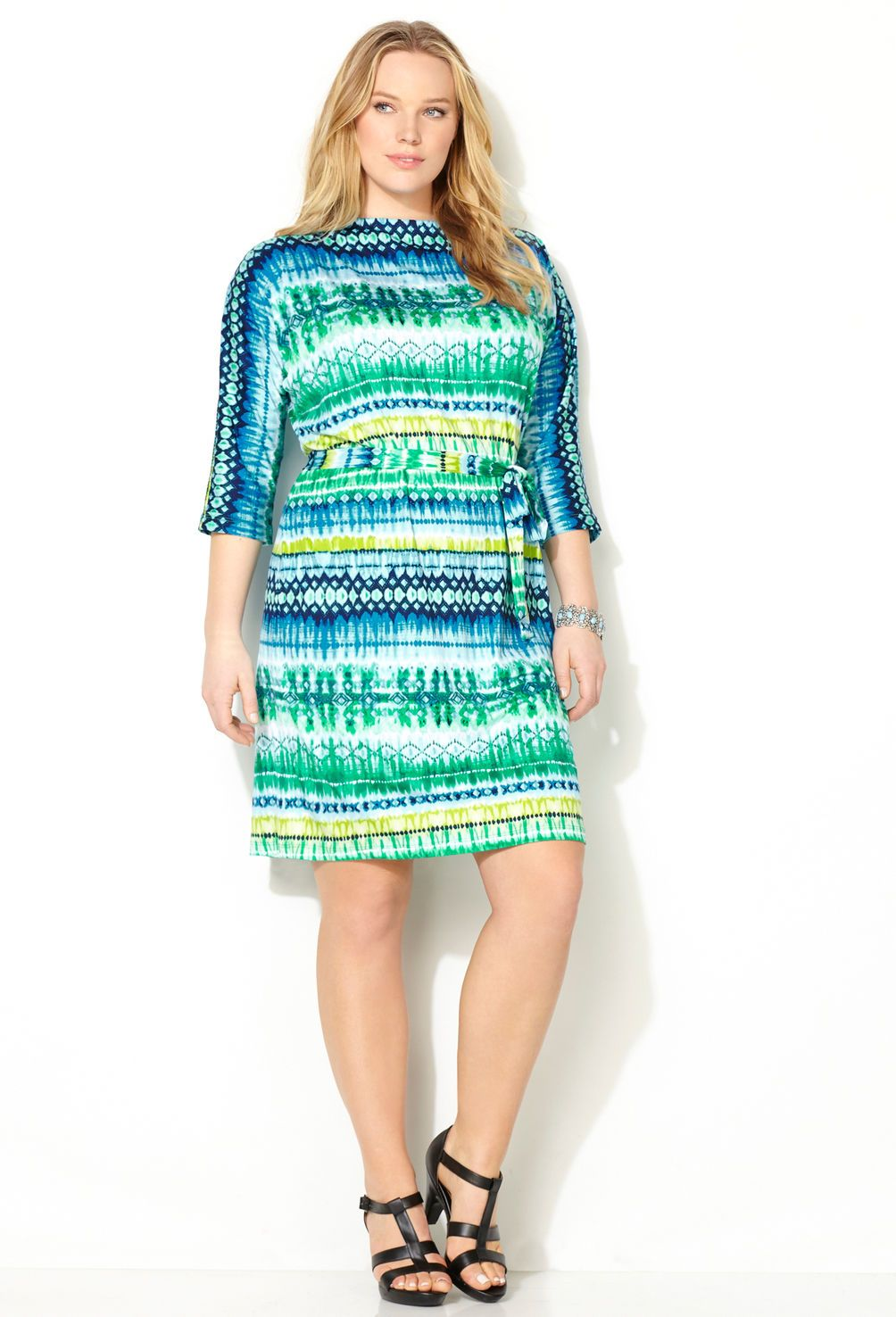 7556c8b9500 Blue Tie Dye Striped Dress-Plus Size Dress-Avenue