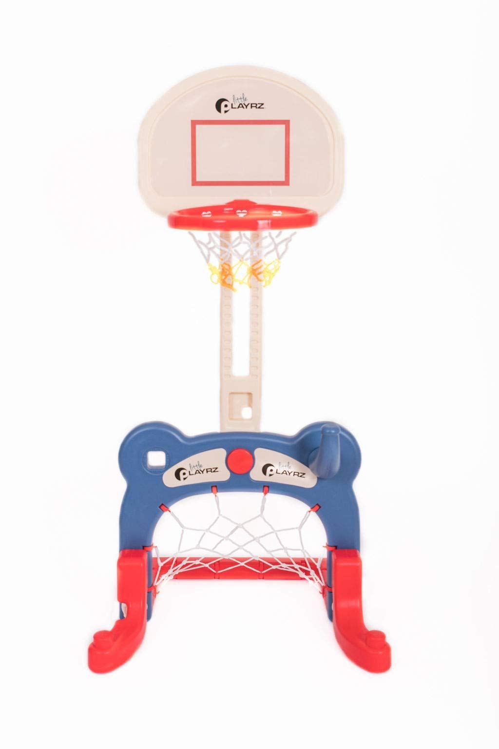 Kids 3 In 1 Sports Center Basketball Hoop Soccer Goal Ring Toss Playset Soccer Goal Basketball Hoop Adjustable Basketball Hoop
