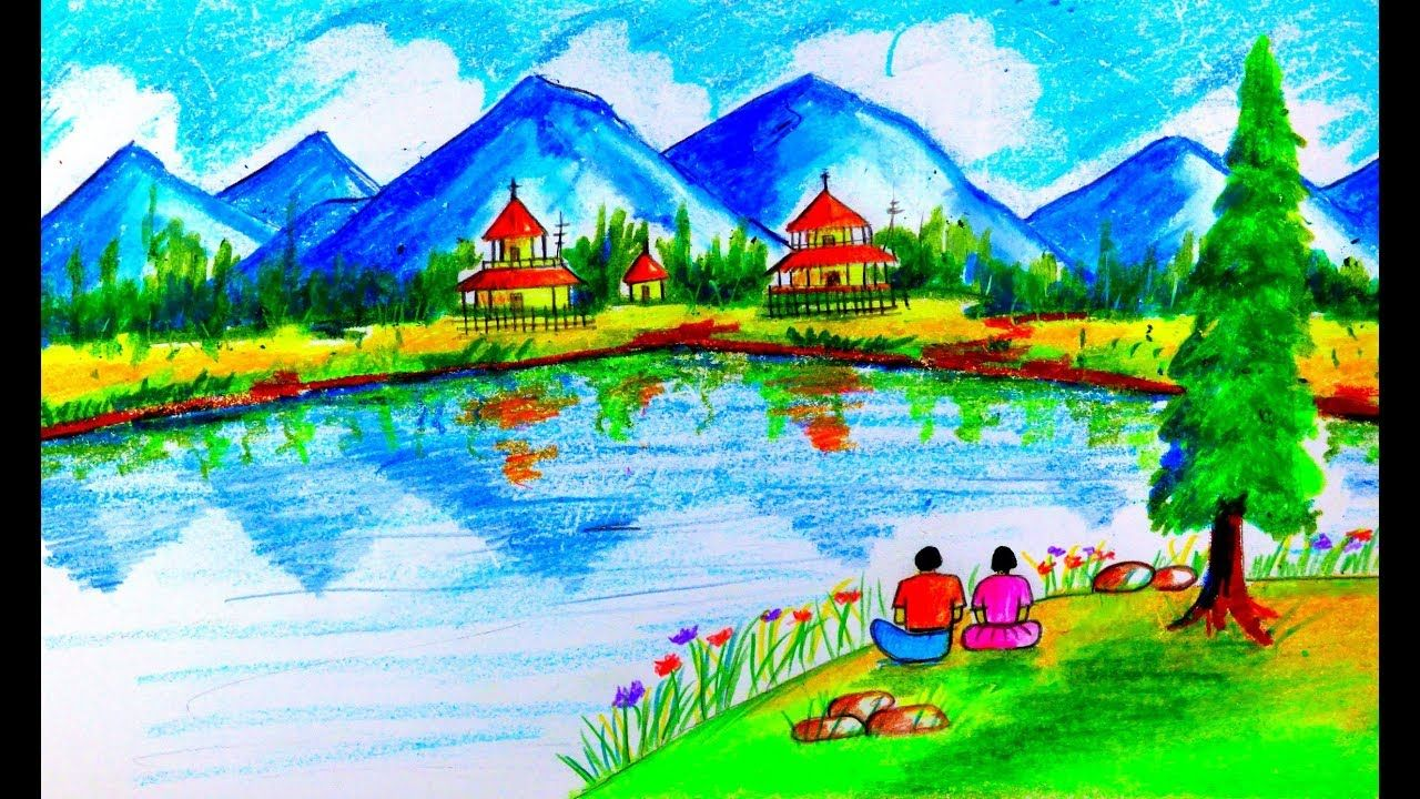 How To Draw Scenery Of Mountain Step By Step By Oil Pastel Colored Pencil