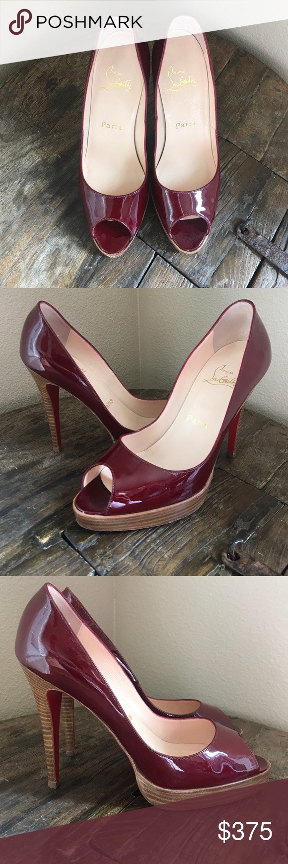 5f625d1cef9 AUTHENTIC CHRISTIAN LOUBOUTIN RED BOTTOM 👠 HOT Christian Louboutin peep 👀  toe RED patent leather