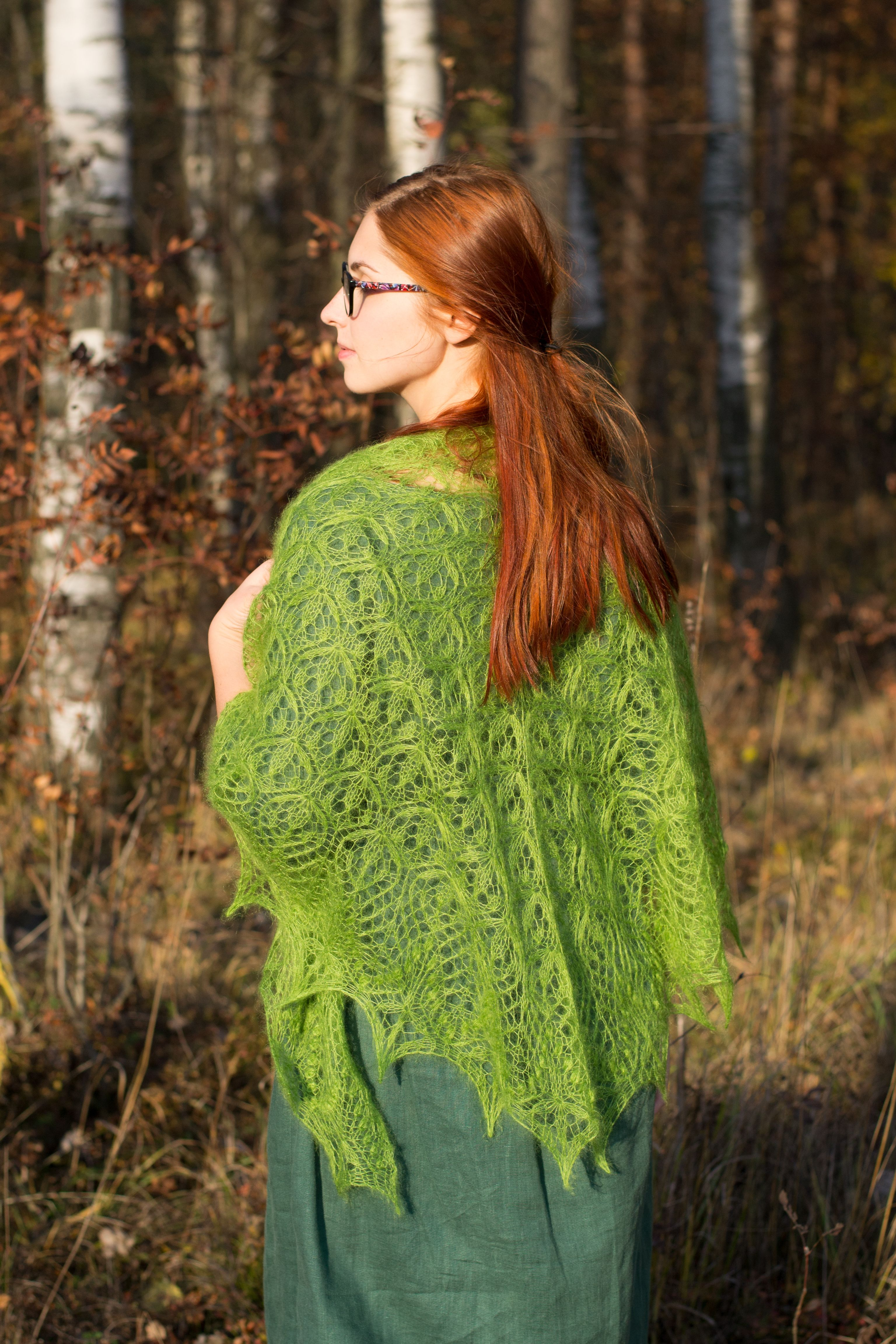 Hand knit lace shawl, knitted mohair wrap, bright green ...