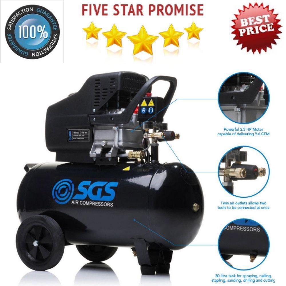 Semi Pro Air Compressor 2 5hp 50l Portable 9 6cfm Air Tools