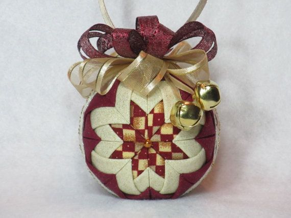 Christmas Quilted Ornament  no sew  burgundy by KCFabricOrnaments