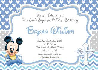 Baby Mickey 1st Birthday Baptism Christening Invitation Baptism