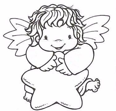 imagenes de angelitos para bautizo para colorear  Arreglos para