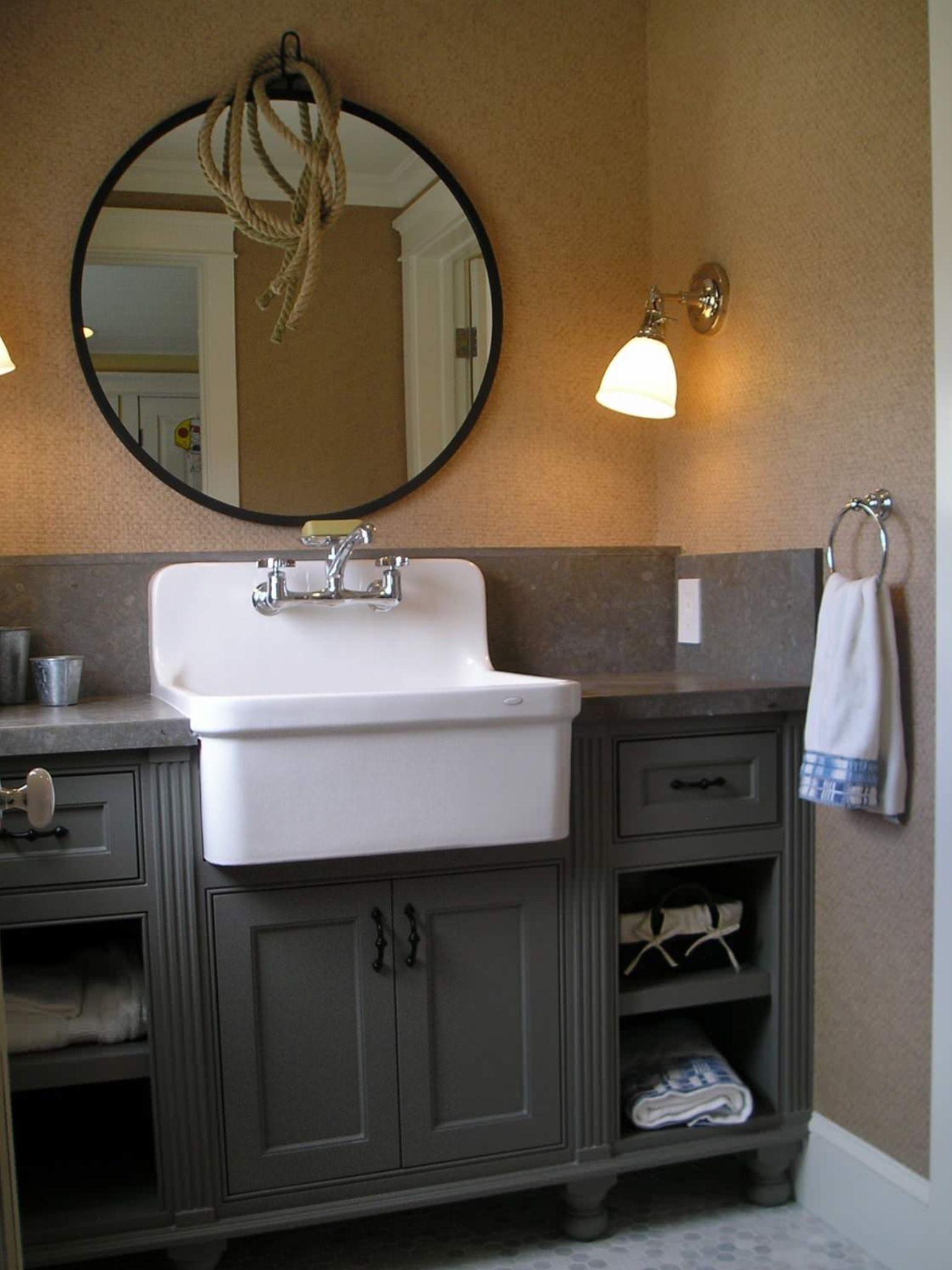 Bathroom Vanity Farm Sink Flush Inset Custom Bathroom Vanity