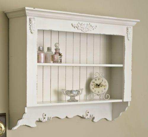 White Scroll Ornate Shelf Unit Storage Cabinet Shabby Kitchen Dining Home Chic White Wall Shelves Shabby Chic Cabinet Wall Shelf Unit