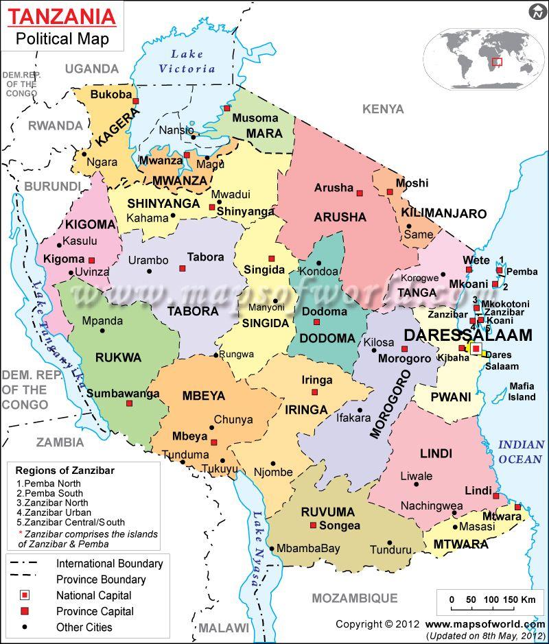 Tanzania Map Political Map Map Italy Map