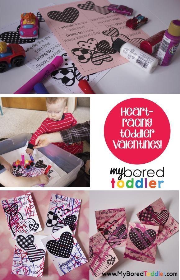 Heart Racing Toddler Valentines Valentine S Day Activities Craft