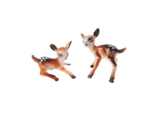 Miniature DEER Figurine Dollhouse Fairy Garden Baby FAWN Vtg Plastic Toy Animal