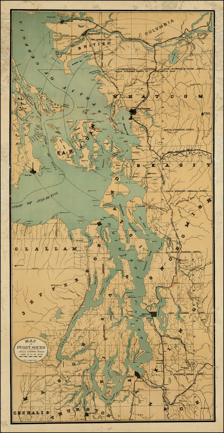 Map of puget sound circles showing radius from 10 to 50 miles