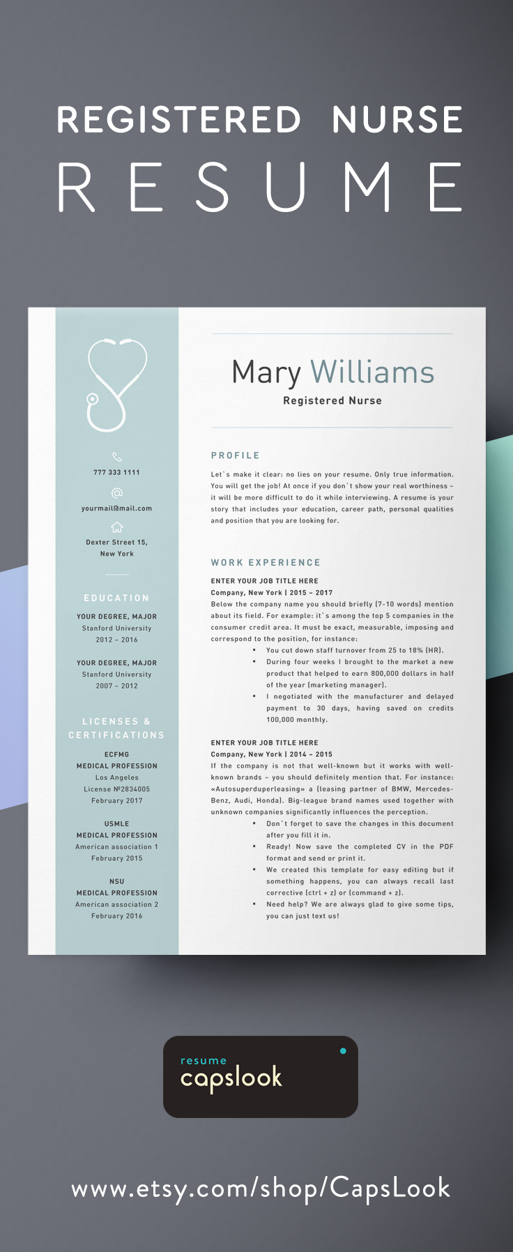 Professional Cv Template With Photo Resume Template For Word Etsy Cv Template Professional Cv Template Creative Cv