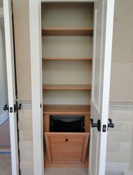 For Upstairs Hallway Linen Closet Replace Bifold Door W Regular And Redo Shelving Add Built In Hamper