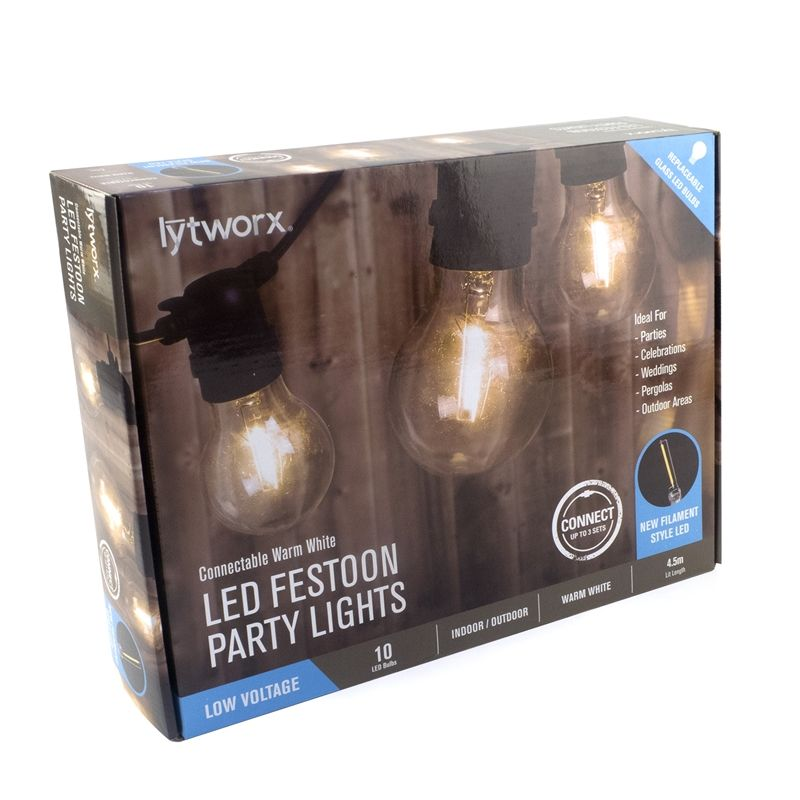 Warehouse Disco Light: Lytworx Warm White Party Light Connectable - 10 Pack