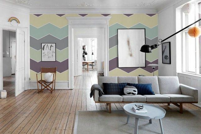 Trendige Winkelmuster streichen-Ideen für Wohnzimmer Wandgestaltung ...