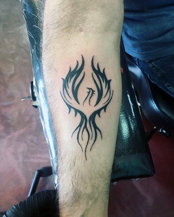 inner forearm black ink male phoenix tattoo designs alas. Black Bedroom Furniture Sets. Home Design Ideas