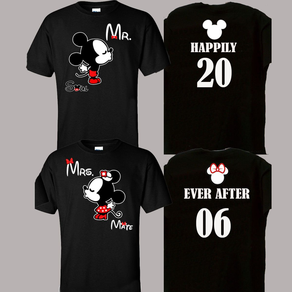 5e73f9ae1a4ea Happily Ever After Couples Shirts Mickey Minnie Mouse Design Mr Mrs ...