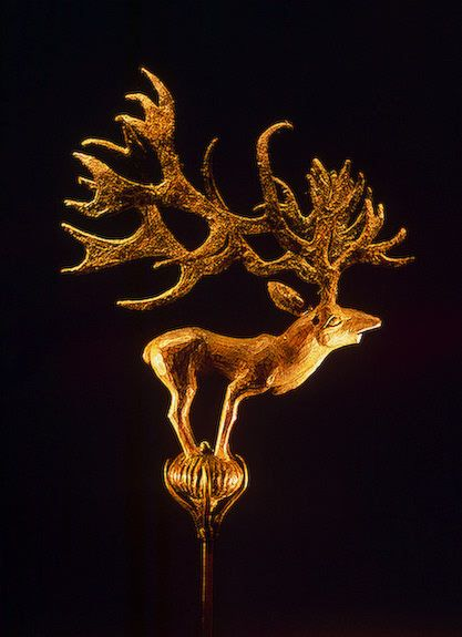 Gilded wooden figurine of a deer from the Pazyryk burials, 5th century BC..............(The bearers of the Pazyryk culture were horse-riding nomads of the steppe)