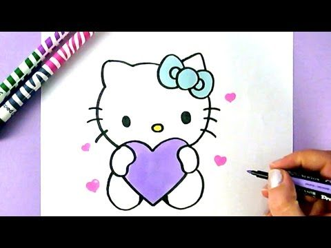 How To Draw Hello Kitty With Love Hearts Easy Drawing Tutorial
