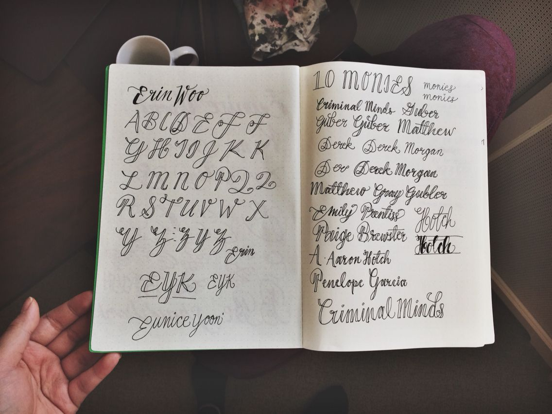 Practicing The Alphabet With A Rollerball Pen Calligraphy