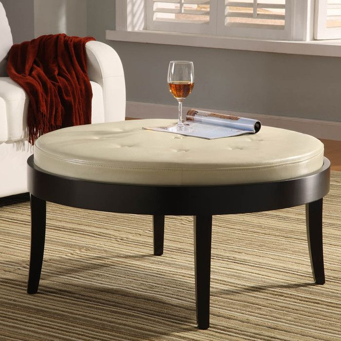 darby home co brundidge leather cocktail ottoman  reviews