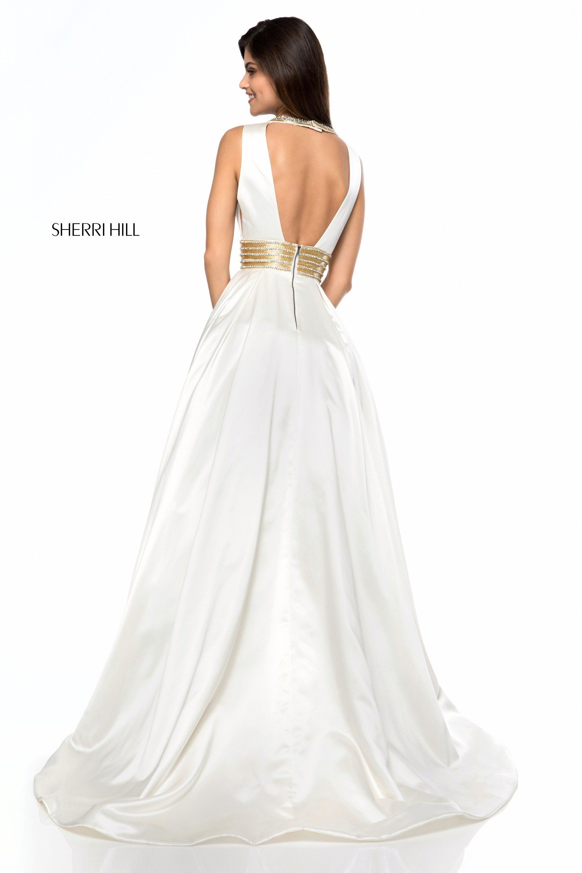 Sherri Hill 51802 Plunge Satin Ball Gown with Pockets | Ball gowns ...
