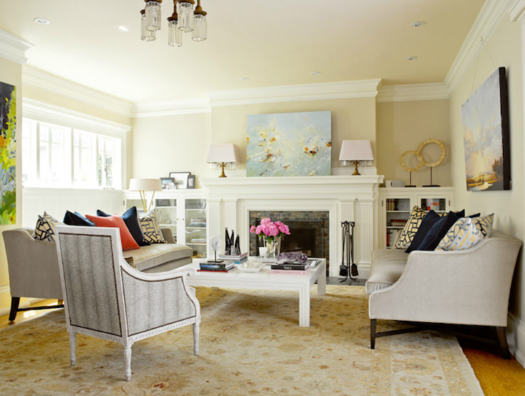 Suzie Graciela Rutkowski Interiors Eclectic Living Room With Pale Yellow Walls Paint Color