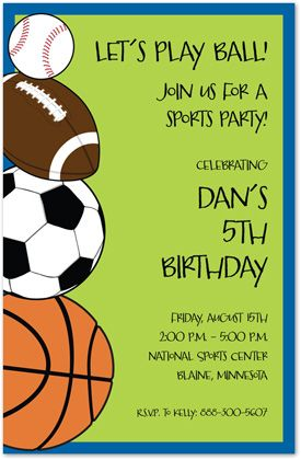Sports Madness Birthday Party Invitations