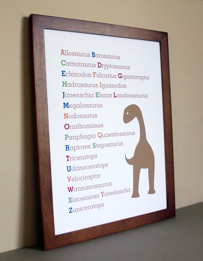 Nursery Art Dinosaur Alphabet, 11x14 - Kids bedroom ideas ...