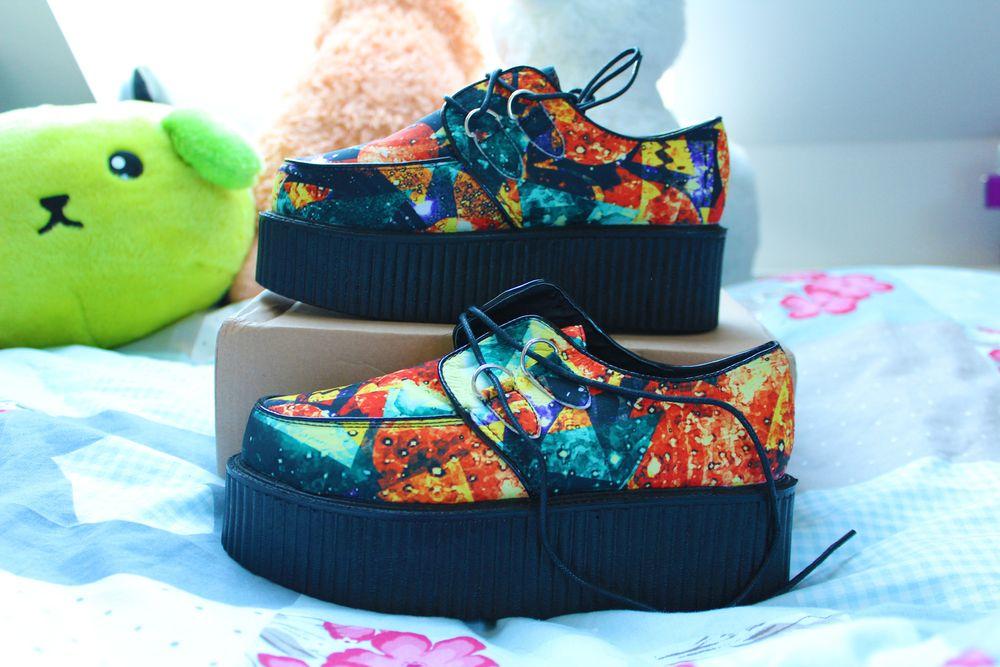 Galaxy Print Creeper Platform Shoes