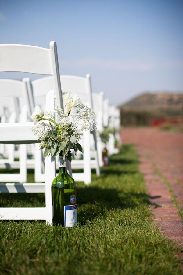 Flowers In Wine Bottles To Line The Aisle Rosie Kellen S