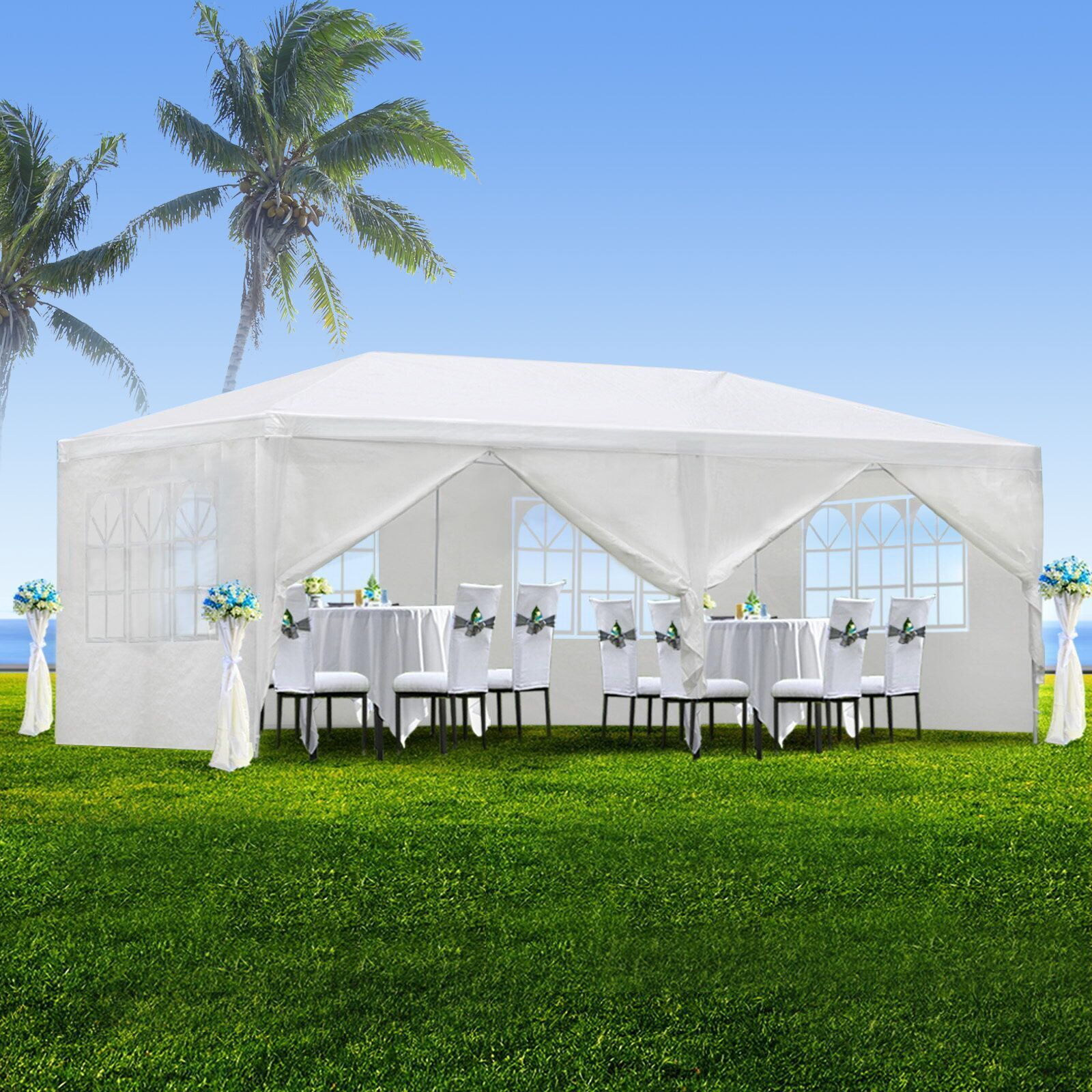 Zeny 10 X20 Outdoor Canopy Party Wedding Tent White Gazebo Pavilion With6 Side Walls Walmart Com In 2020 White Gazebo Canopy Outdoor Party Tent Wedding