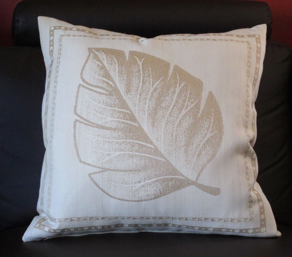 """New Decorative Accent Throw Pillow COVER, Ivory/gold Leaf, 17"""" x ..."""