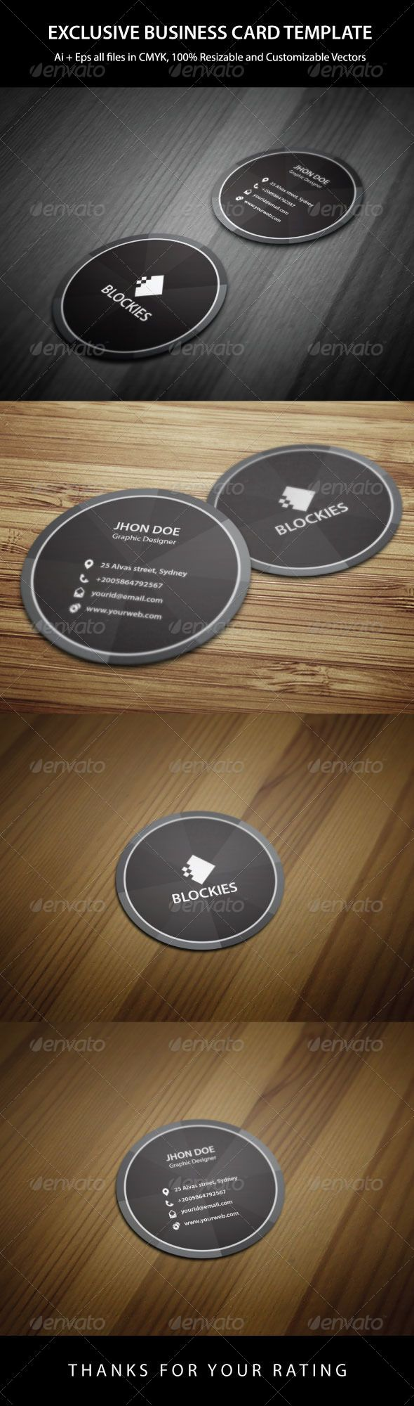 Exclusive Circle Business Card Business Cards Card Templates - Round business card template