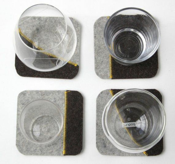 felted coasters in gray
